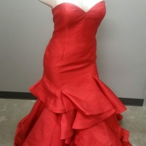 Strapless red prom dress